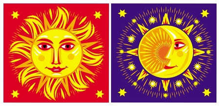 sun and moon: El sol y Luna Vectores