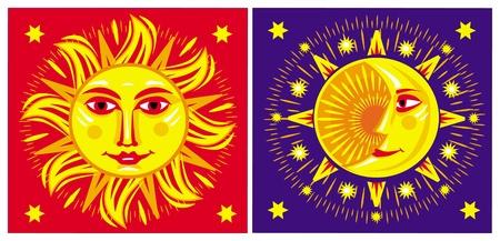 rooster at dawn: Sole e Luna Vettoriali