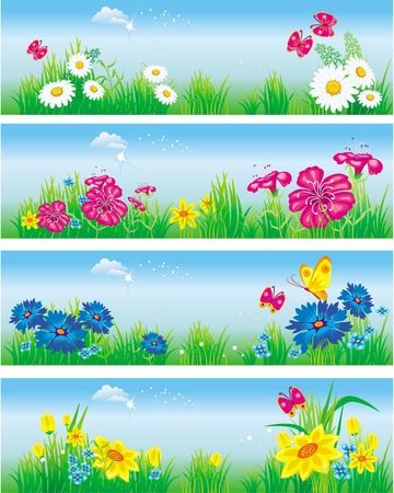 Banners with flowers in meadow Vector