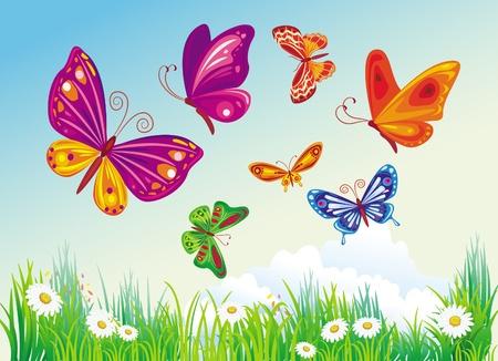season: Butterflys on a background of blue sky Illustration