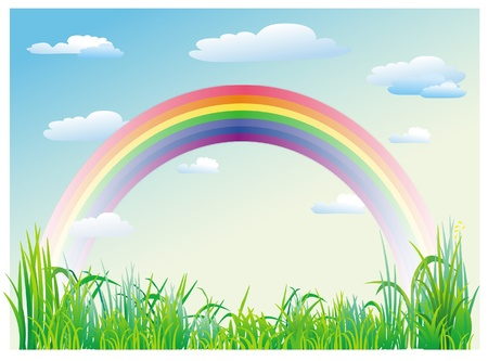 Rainbow on a background of blue sky Vector