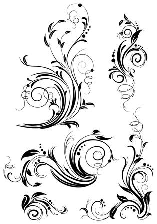 flourishes: Set of floral design elements