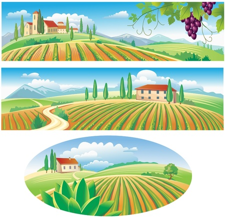 harvest organic: Banners with the agriculture landscape