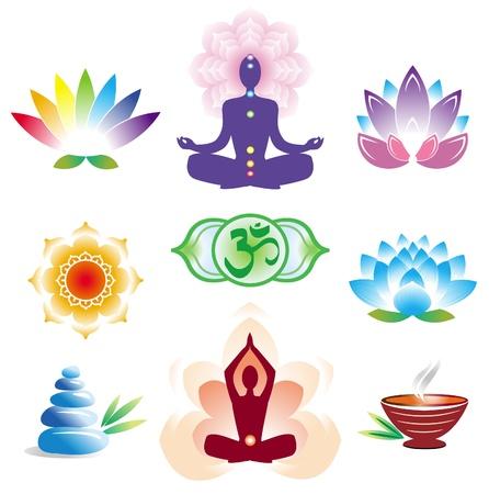 flor loto: Conjunto de iconos orientales