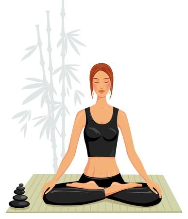 Young woman doing yoga Stock Vector - 9626492