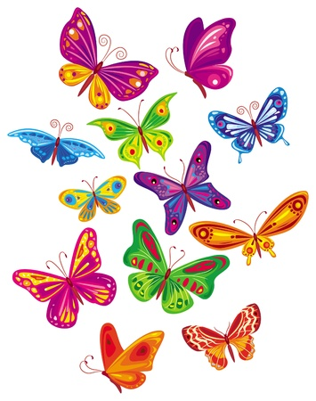 Set of colored butterflies Stock Vector - 9626499