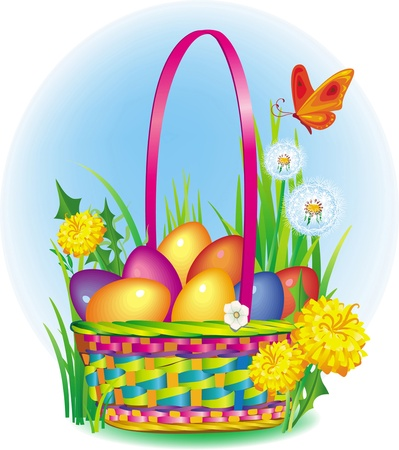 gift basket: Ð¡olorful Easter Eggs in wicker basket Illustration
