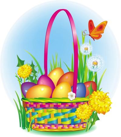 gift basket: Сolorful Easter Eggs in wicker basket Illustration