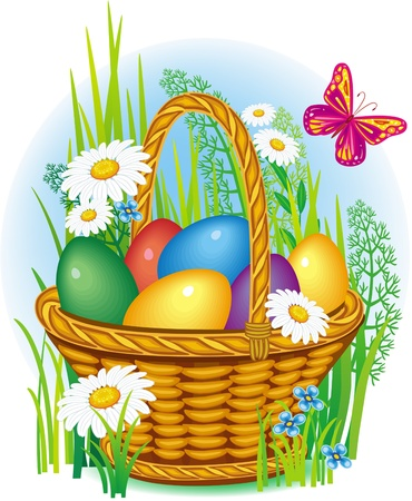 Сolorful Easter Eggs in wicker basket Vector