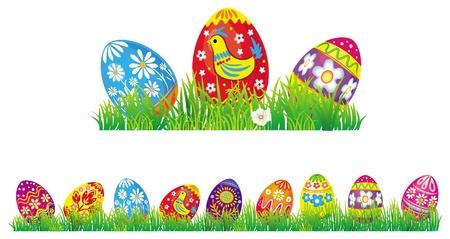 eastertide: Easter eggs in grass