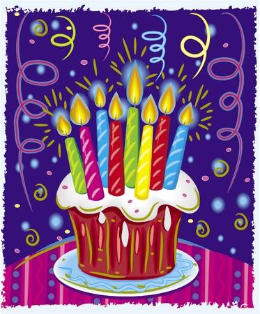 number candles: Pastel de cumplea�os con velas