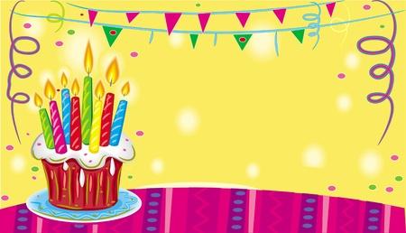 candle lights: Birthday cake Illustration