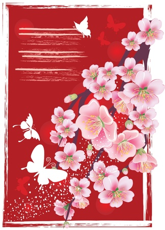 spring in japan: Flowering branch in the red Illustration