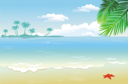 tranquil scene: Summertime at the beach Illustration