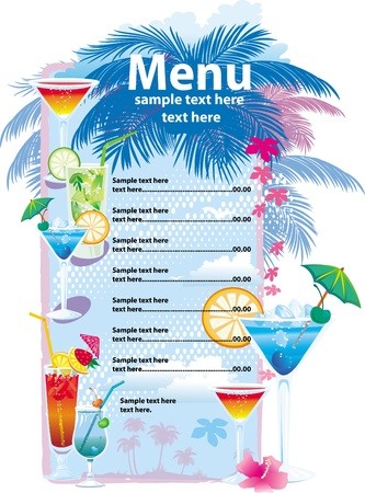 bar menu: Template designs of cocktail menu Illustration