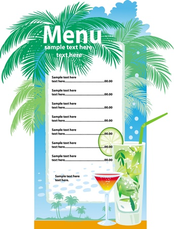 menu vintage: Template designs of cocktail menu Illustration