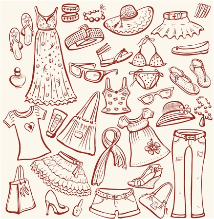 apparel: Set of woman summer clothes Illustration