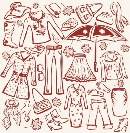 Set of woman autumn clothes and accessories Vector