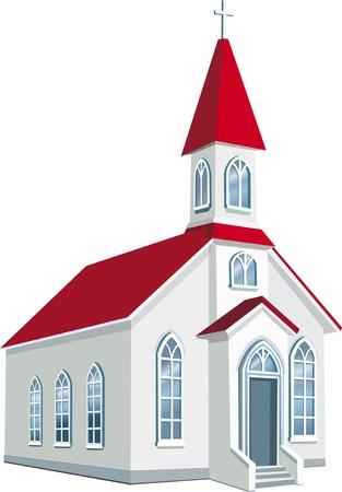 Condado de pequeña iglesia cristiana Ilustración de vector