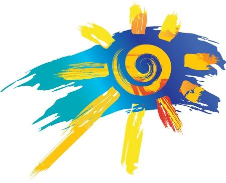 símbolo del Sol de salpicaduras de colores y pinceles de línea