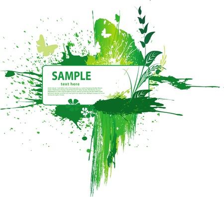 grunge leaf: Green grunge background
