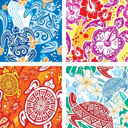 schildkroete: Nahtlose Muster mit Schildkr�ten Illustration