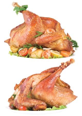 whole chicken: Roasted chicken on white background