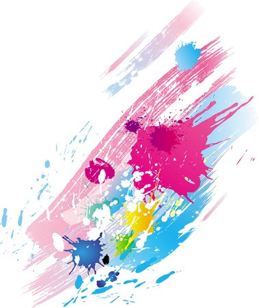 messy paint: Background of paint splashes and line brushes Illustration