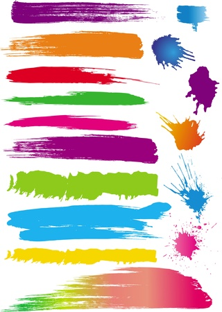 paint drips: Set of colour line brushes Illustration