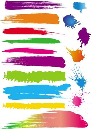 beroerte: Set van kleur lijn borstels