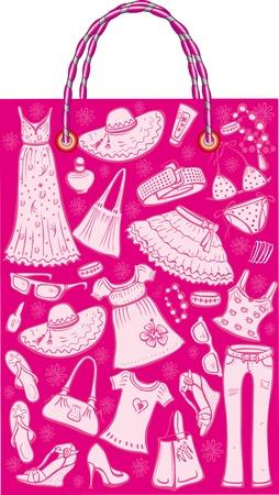 ふだん着: 女性夏服やアクセサリーを持つショッピング バッグ