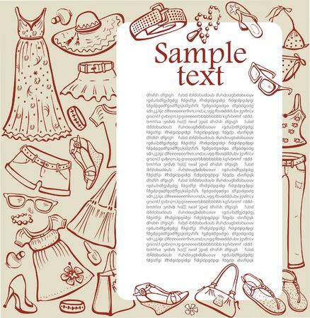 Sjabloon met vrouw zomer kleding en accessoires