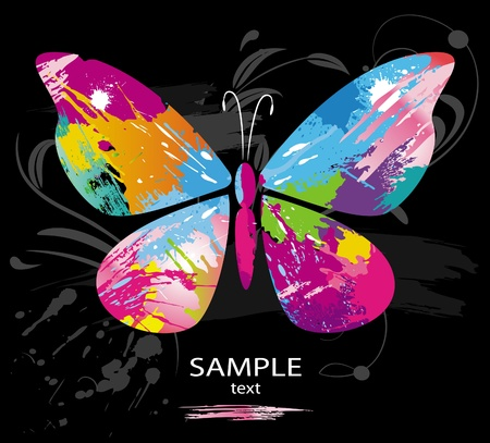 paint samples: Butterfly from color splashes and line brushes Illustration