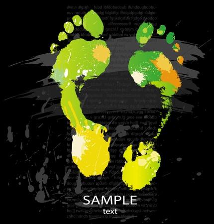 foot print: Impression des �claboussures de couleurs et les pinceaux de la ligne de pied Illustration