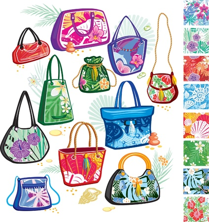 Summer bags with patterns Vector