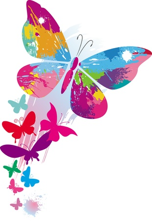 Butterflies and line brushes Stock Vector - 9716643