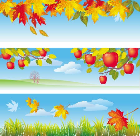 autumn leaf frame: Three autumn banners
