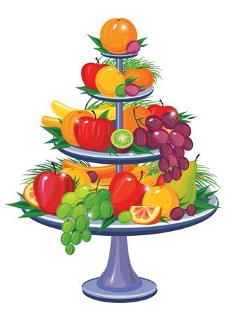 mezcla de frutas: Frutas en vaso de nivel tres Vectores