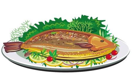 Roast fish on plate Stock Vector - 9716681