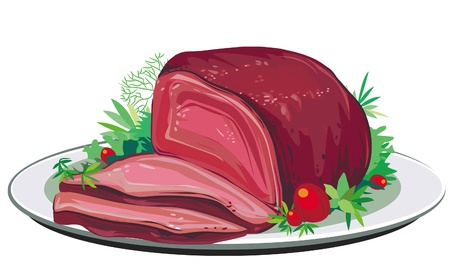 Roast pork Vector