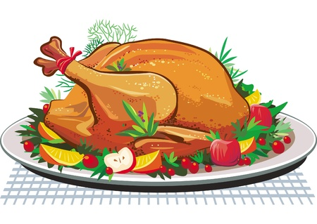 Roast turkey on the plate Vector