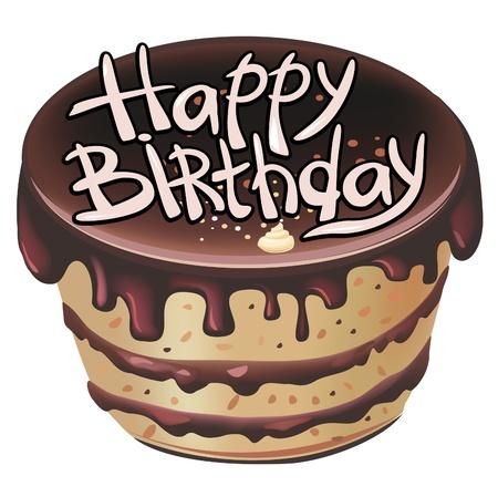 trozo de pastel: pastel de cumplea�os de chocolate Vectores