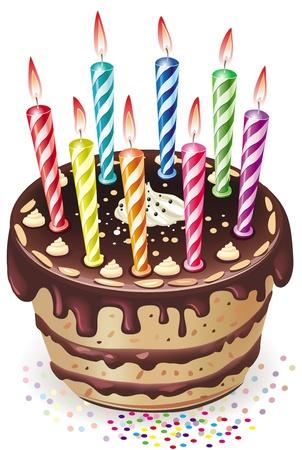 geburtstagskerzen: Schokoladenkuchen mit Kerzen Illustration