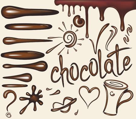chocolate splash: Set of chocolate drips brushs