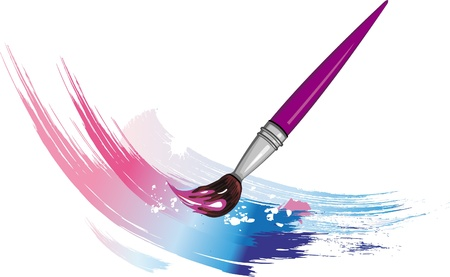 Paintbrush with сolor paint splashes Stock Vector - 9745211