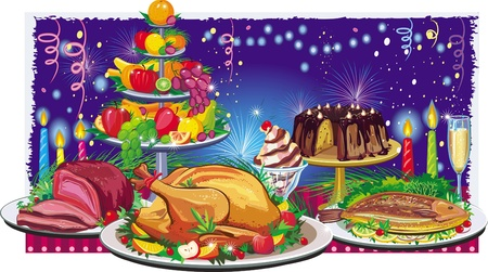 banquet table: Holiday dinner