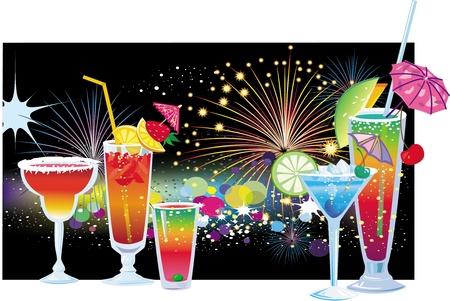 night bar: C�cteles sobre fondo de fuegos artificiales en el cielo nocturno Vectores