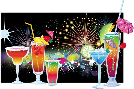 cocktail cold: Cocktails on background of fireworks in the night sky