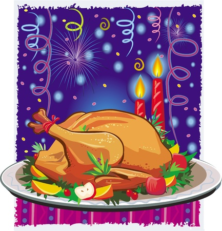 Roast turkey Vector