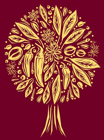 nutmeg: Illustration with a spice of tree shape